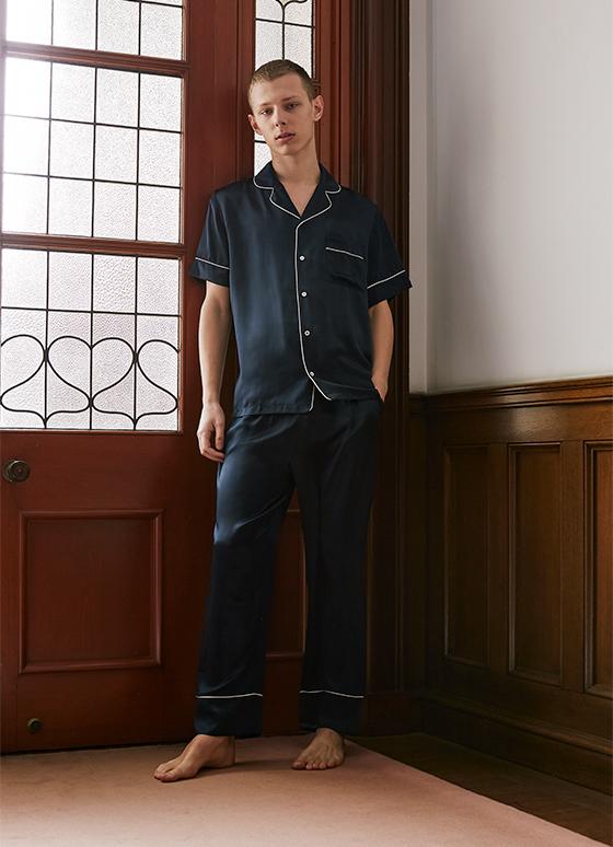 シルクパジャマ半袖&ロングパンツ/セット【メンズ/BOX付】
