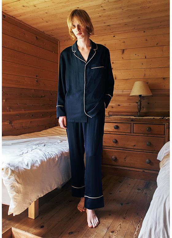 メンズヴィンテージサテンパジャマ長袖&ロングパンツ/セット【メンズ/BOX付】