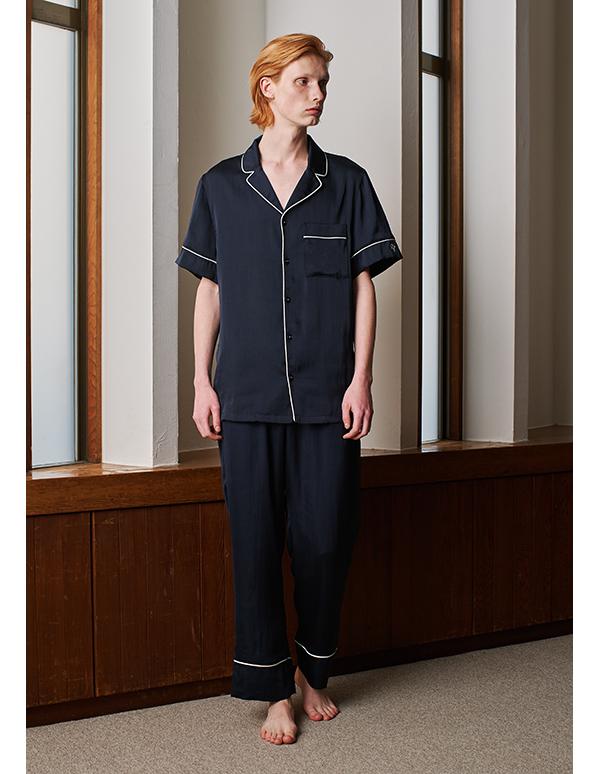ヴィンテージサテンパジャマ半袖&ロングパンツ/セット【メンズ/BOX付】