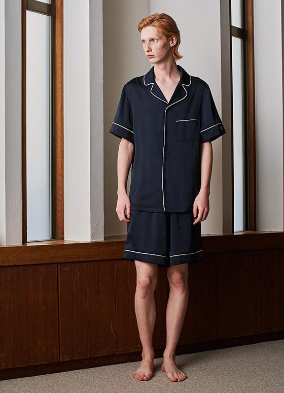 メンズヴィンテージサテンパジャマ 半袖&ハーフパンツ/セット【メンズ/BOX付】
