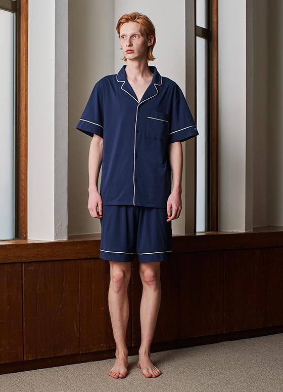 メンズコットンベアパジャマ 半袖&ハーフパンツ/セット【メンズ/BOX付】