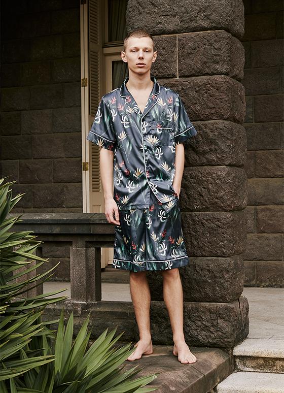 メンズボタニカルパジャマ 半袖&ハーフパンツ/巾着セット
