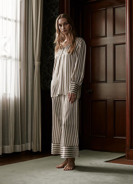 サテンストライプカフスパジャマ 長袖&ロングパンツ/巾着セット