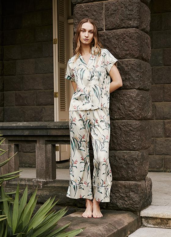ボタニカルパジャマ 半袖&ロングパンツ/巾着セット