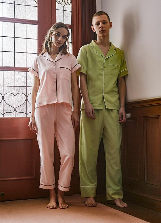 コットンパジャマ 半袖&ロングパンツ/巾着セット