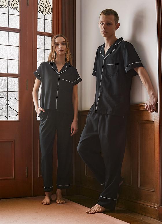 メンズコットンパジャマ 半袖&ロングパンツ/巾着セット