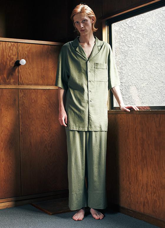 メンズリネンルーズパジャマ 半袖&ロングパンツ/セットアップ【メンズ】
