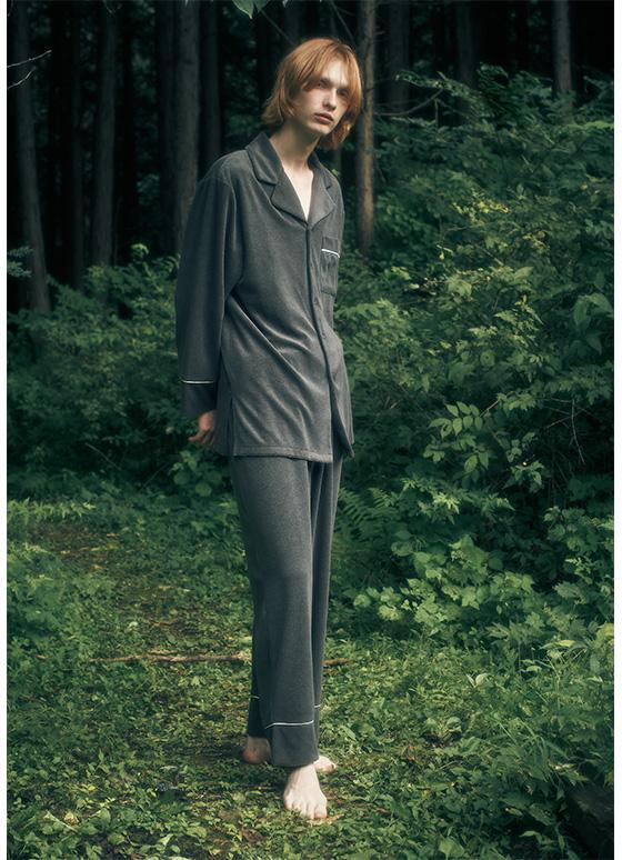 メンズパイルパジャマ 長袖&ロングパンツ/セットアップ【メンズ】