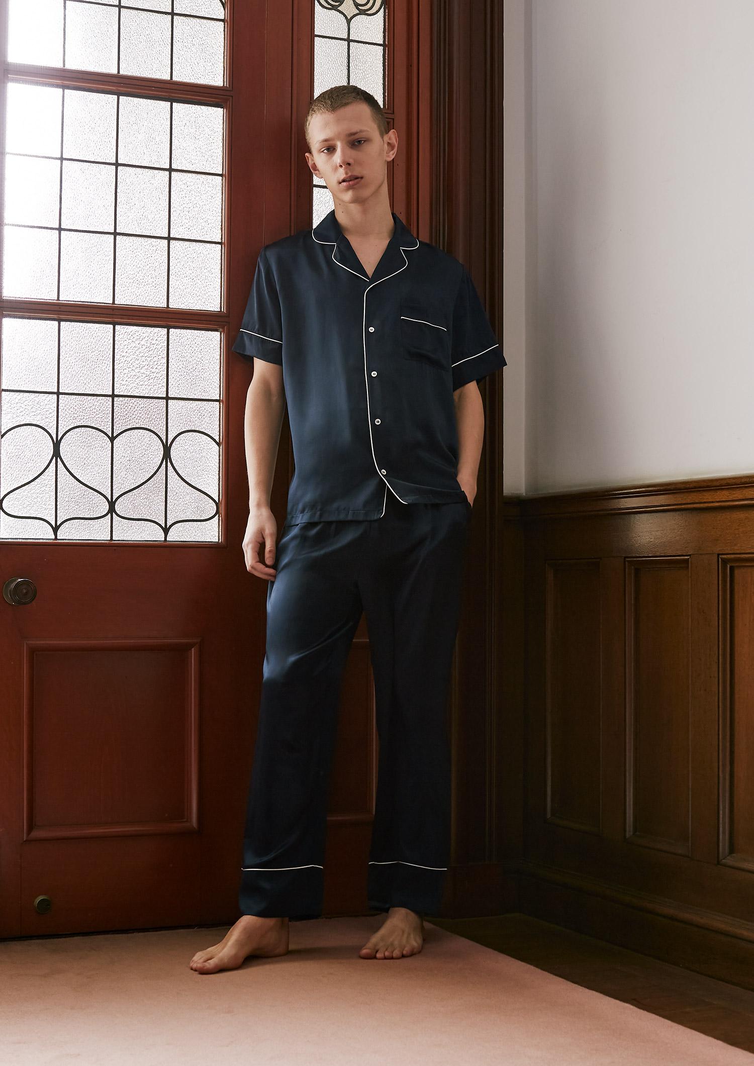 SLEEPY SLEEPY シルクパジャマ半袖&ロングパンツ/セット【メンズ/BOX付】