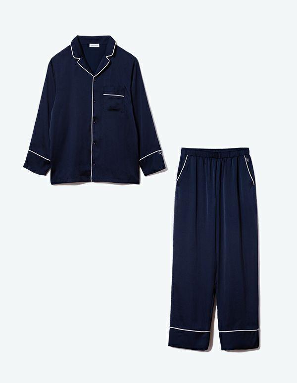 SLEEPY SLEEPY ヴィンテージサテンパジャマ長袖&ロングパンツ/セット【メンズ/BOX付】