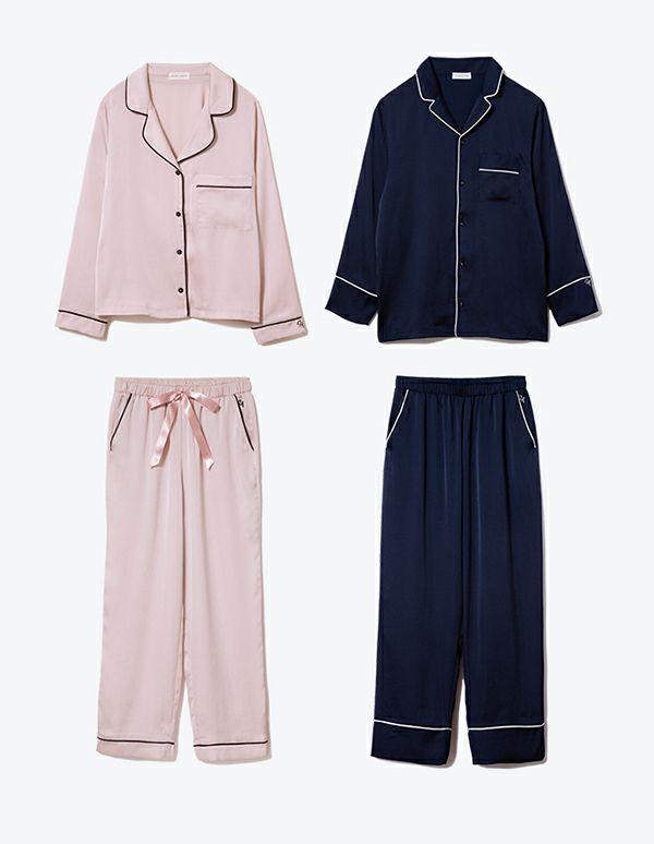 ヴィンテージサテンパジャマ長袖&ロングパンツ/セット【ペアパジャマ/限定BOX付】