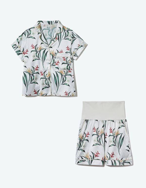 SLEEPY SLEEPY ボタニカルパジャマ 半袖&ショートパンツ/巾着セット