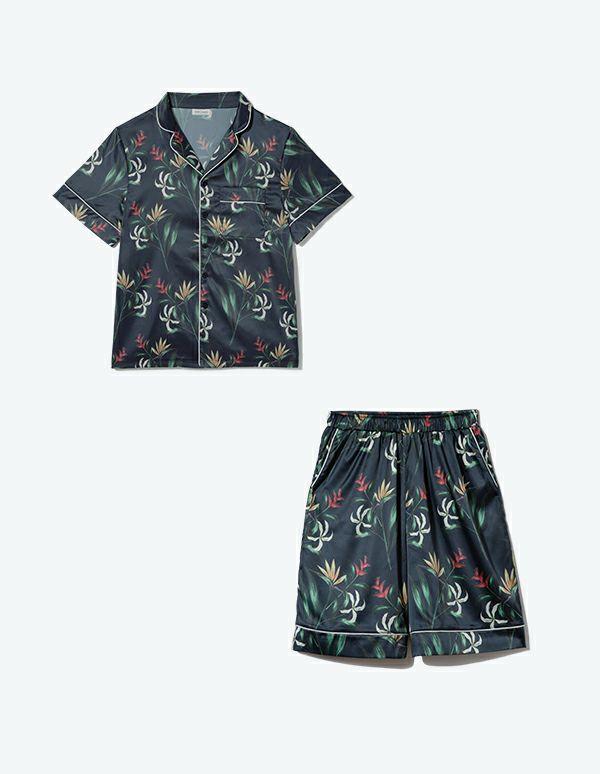 SLEEPY SLEEPY メンズボタニカルパジャマ 半袖&ハーフパンツ/巾着セット