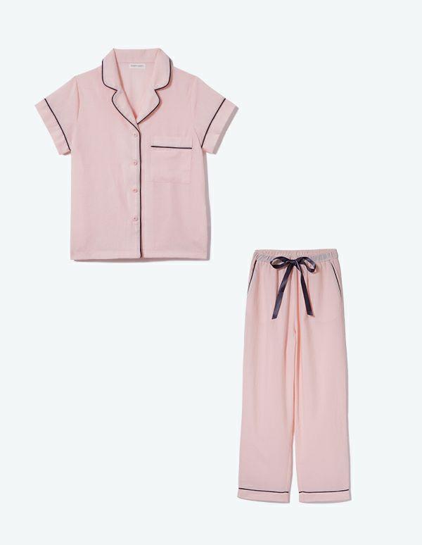 SLEEPY SLEEPY コットンパジャマ 半袖&ロングパンツ/巾着セット