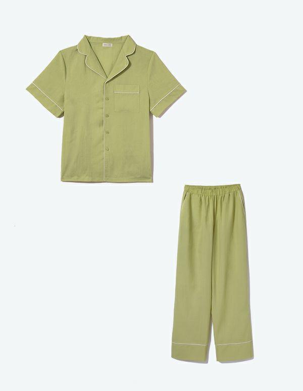 SLEEPY SLEEPY メンズコットンパジャマ 半袖&ロングパンツ/巾着セット